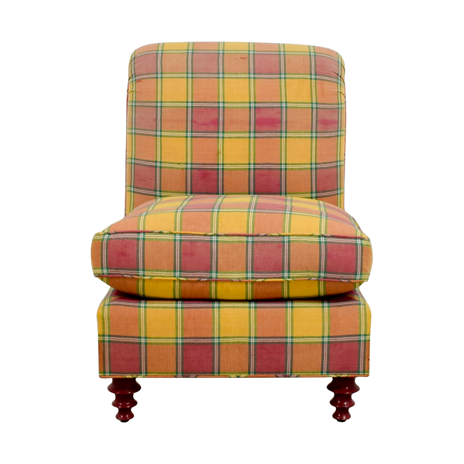 Furniture Masters Furniture Masters Red and Yellow Plaid Accent Chair