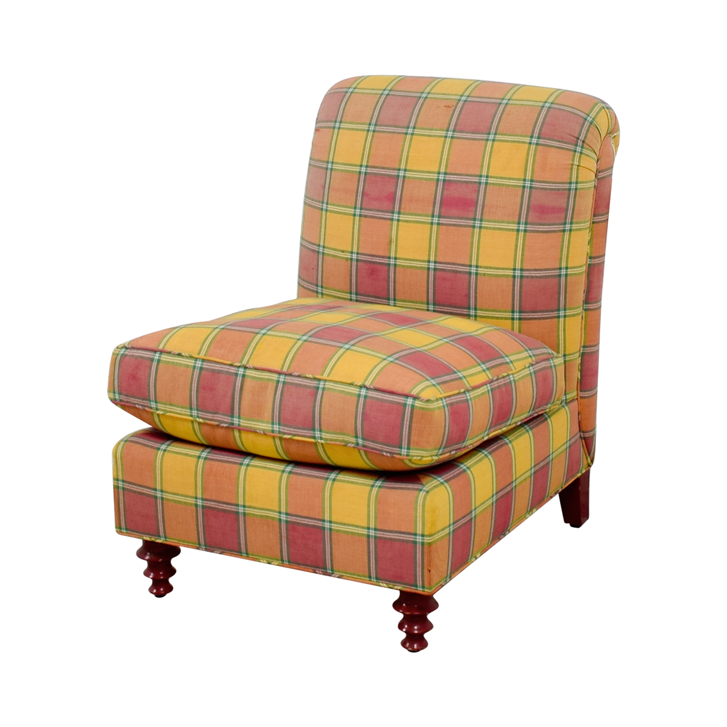 Furniture Masters Furniture Masters Red and Yellow Plaid Accent Chair discount