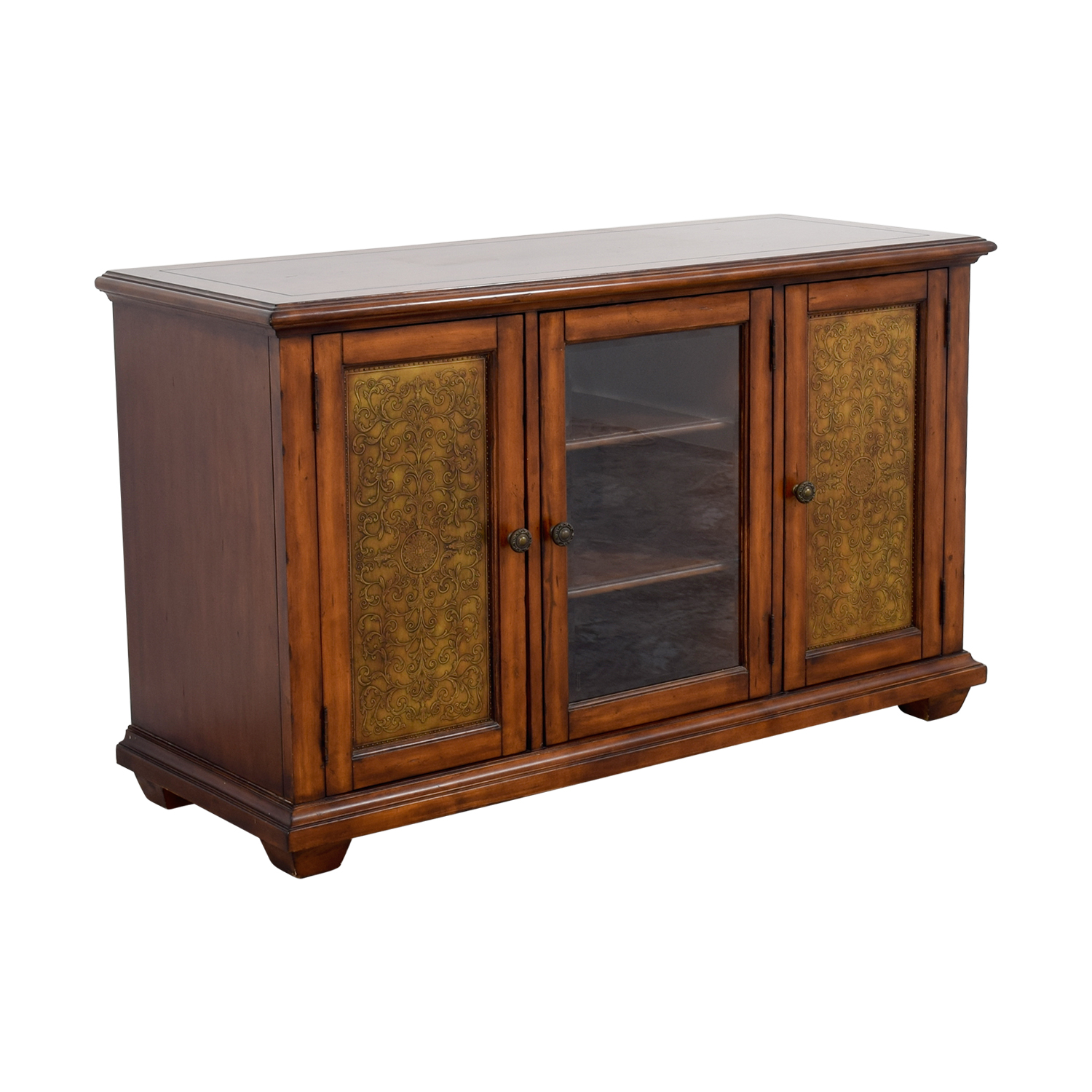 Hooker Furniture Hooker Furniture Media Console with Brass in Distressed Wood Finish