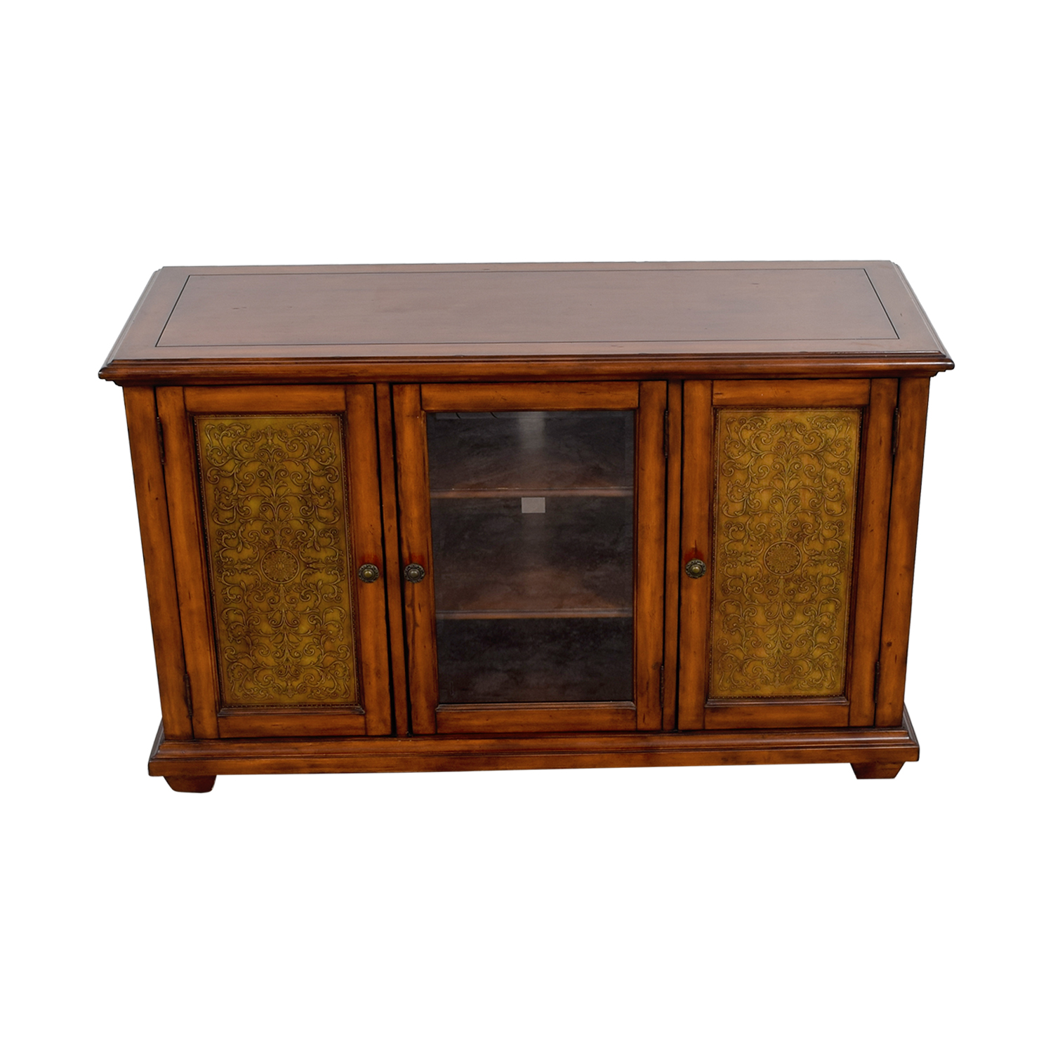 Hooker Furniture Hooker Furniture Media Console with Brass in Distressed Wood Finish Brown