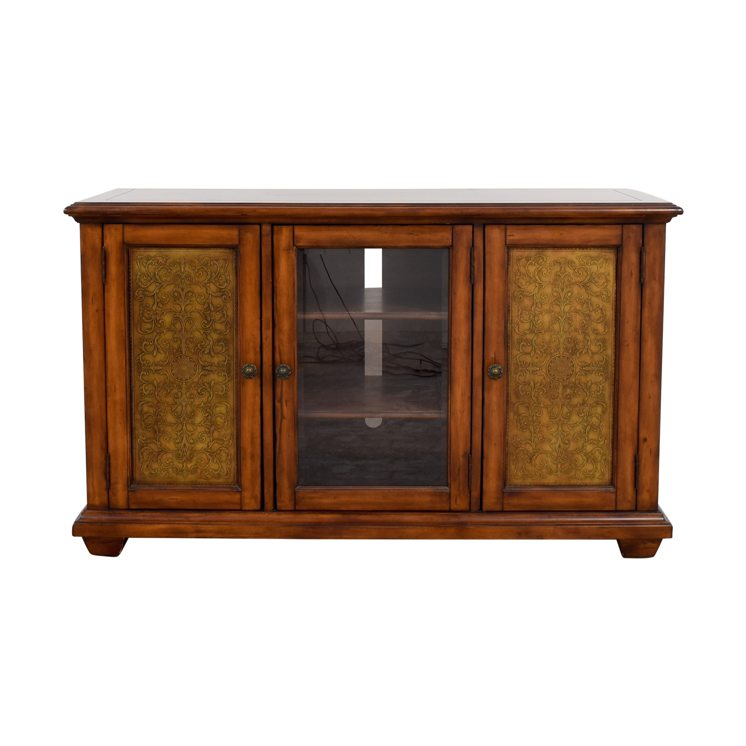 Hooker Furniture Hooker Furniture Media Console with Brass in Distressed Wood Finish dimensions