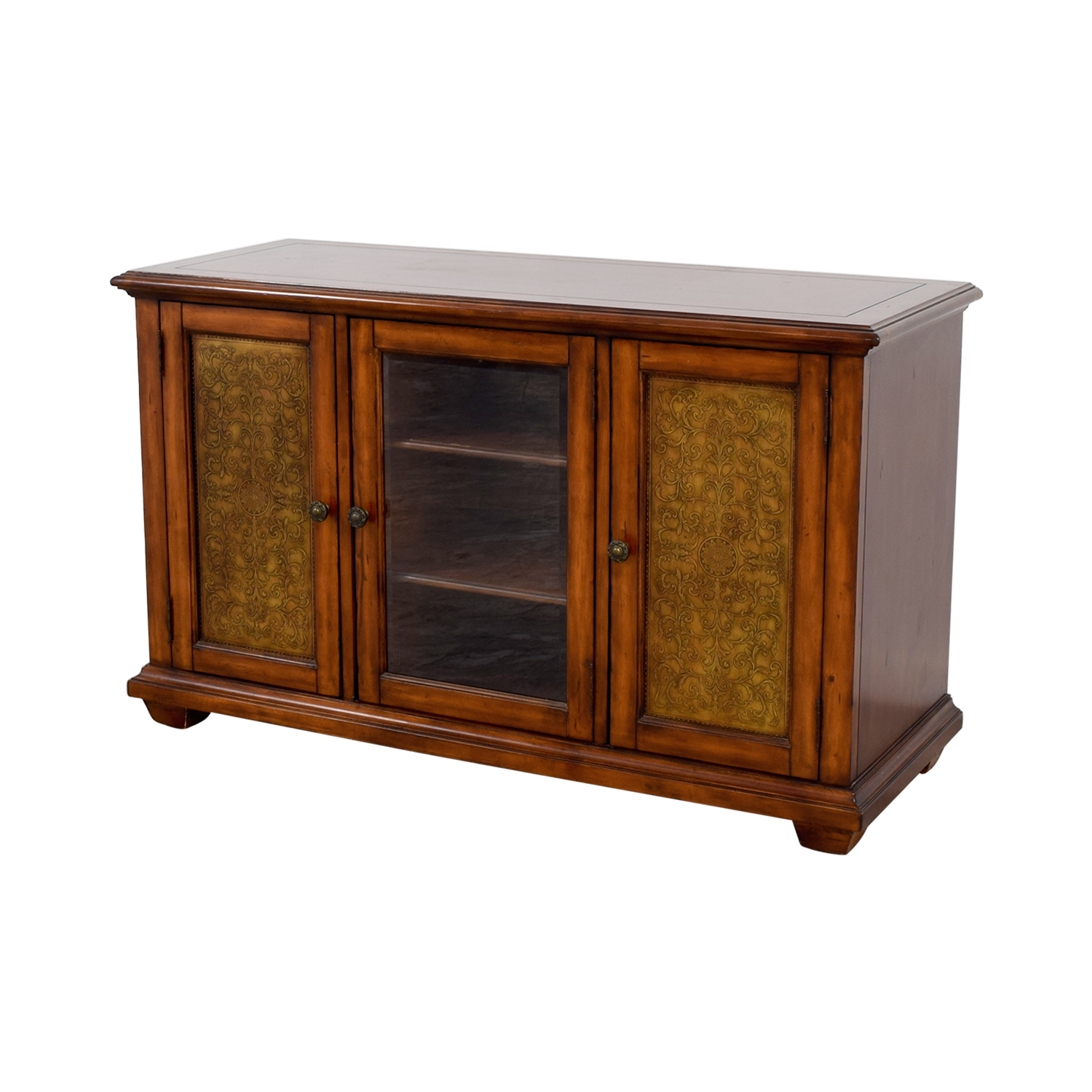 Hooker Furniture Media Console with Brass in Distressed Wood Finish sale