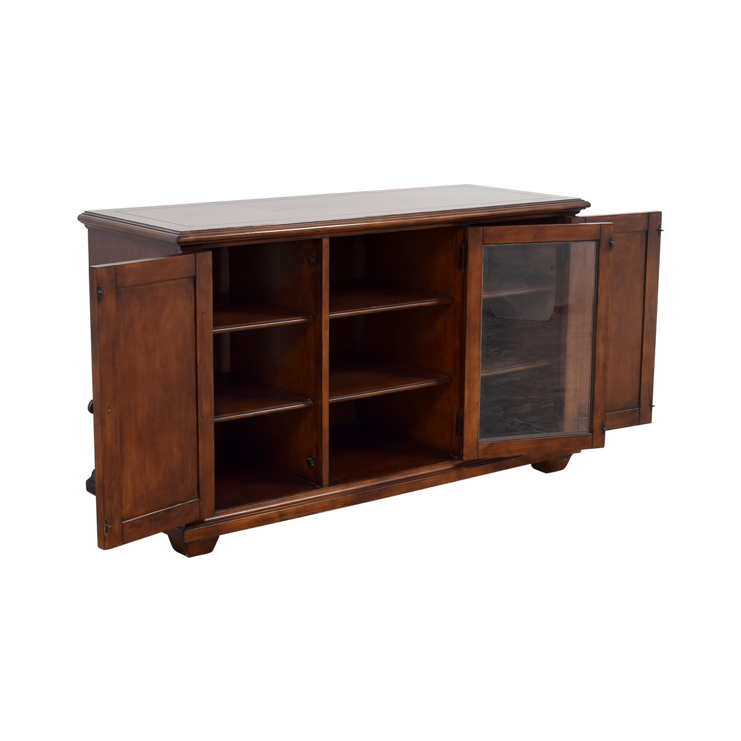 shop Hooker Furniture Media Console with Brass in Distressed Wood Finish Hooker Furniture Media Units