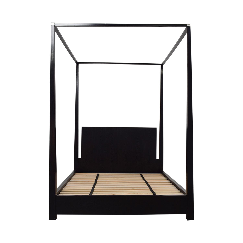 Calvin Klein Calvin Klein Queen Four Poster Black Platform Canopy Bed Sofas