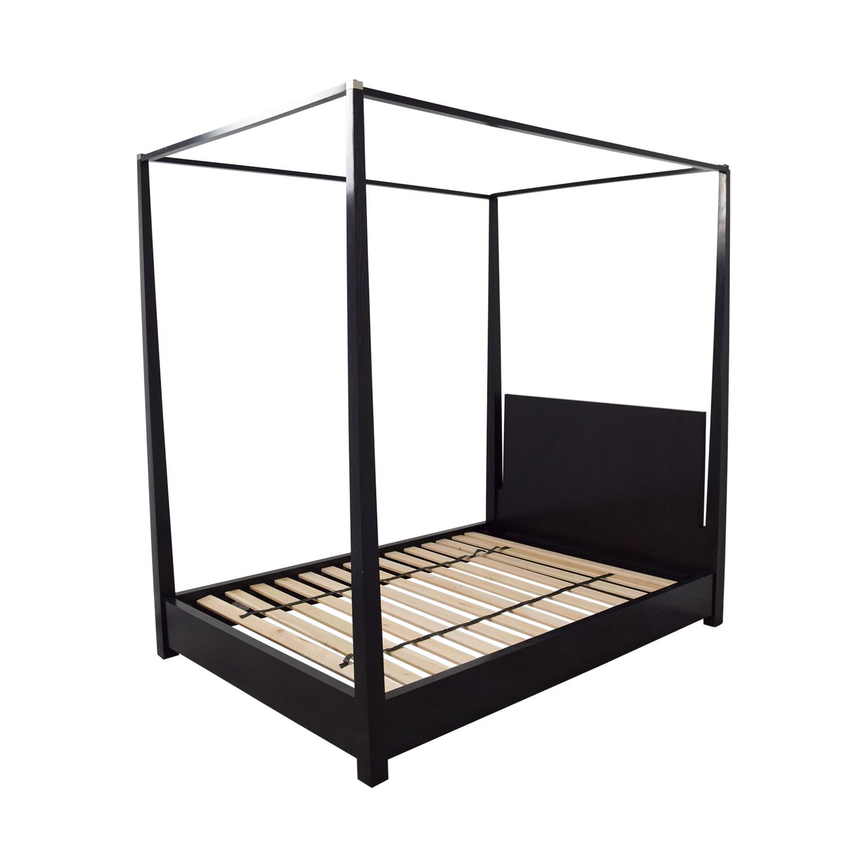 shop Calvin Klein Queen Four Poster Black Platform Canopy Bed Calvin Klein