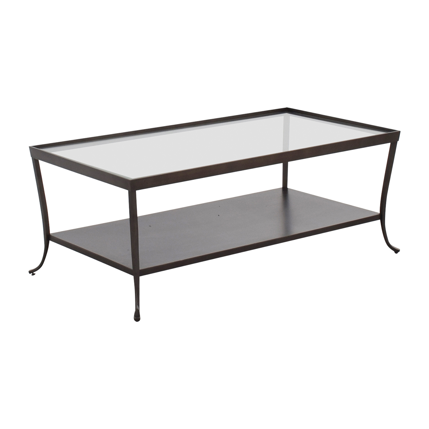 66 Off Glass Top Coffee Table With Metal Base Tables
