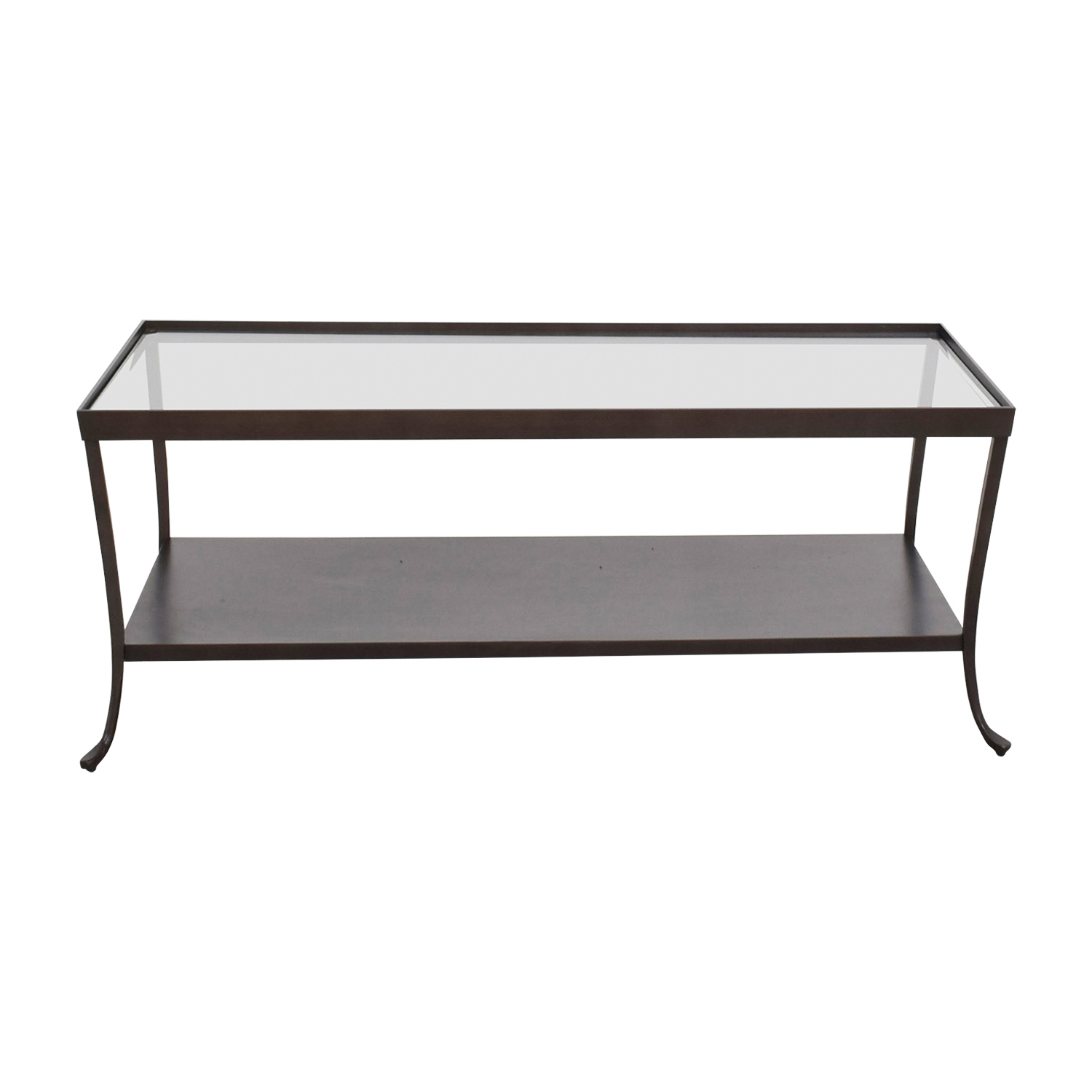 Glass Top Coffee Table with Metal Base Tables