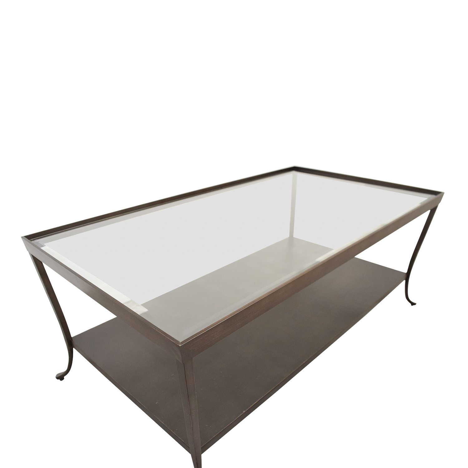 Glass Top Coffee Table with Metal Base on sale