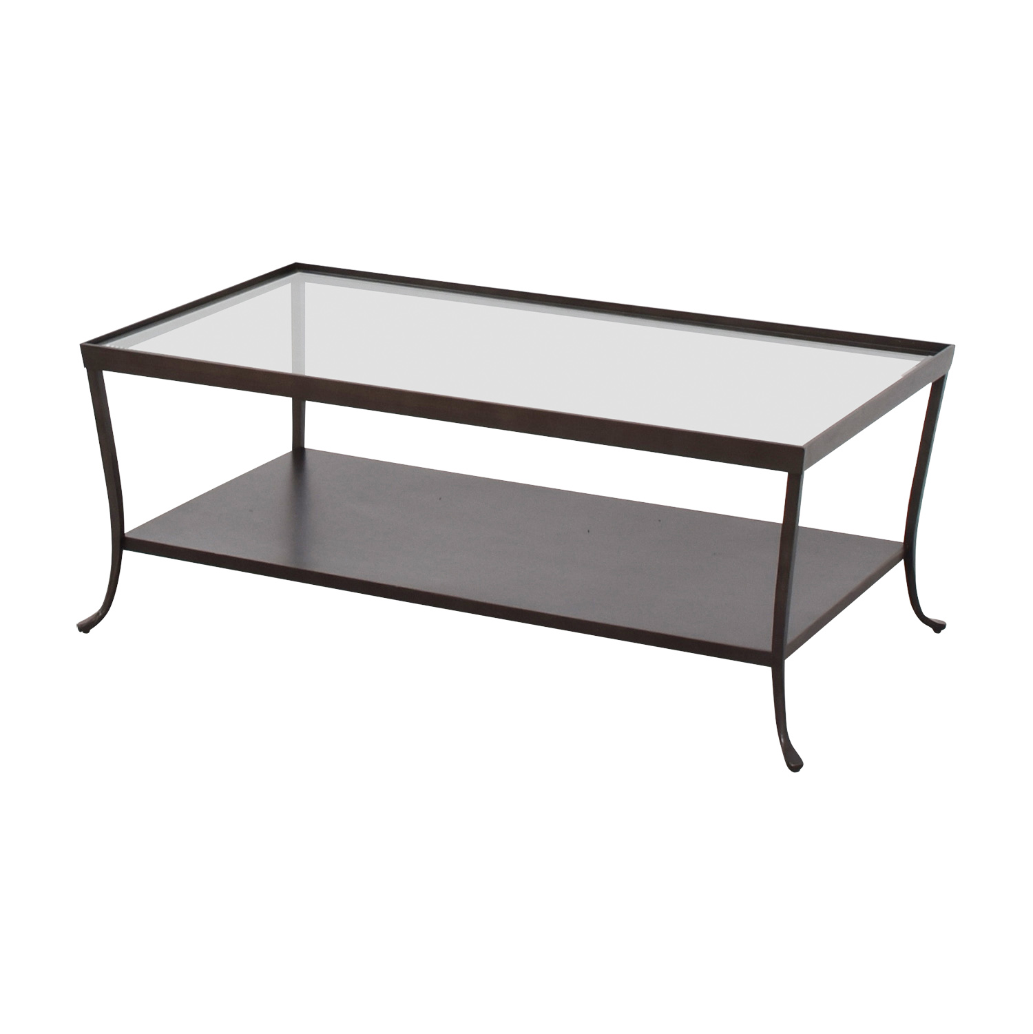 ... Glass Top Coffee Table With Metal Base Mahogany / Glass ...