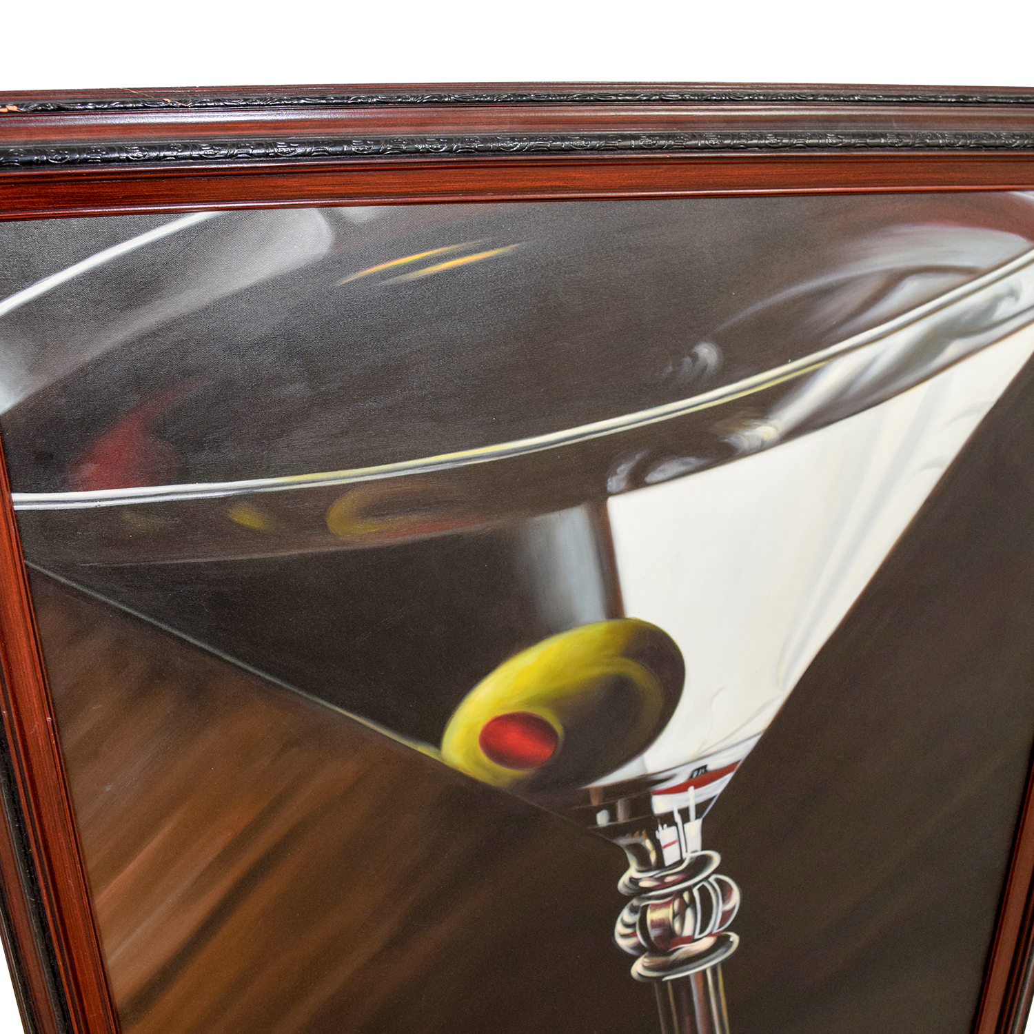 Lithograph of Martini Glass with Olive Decor