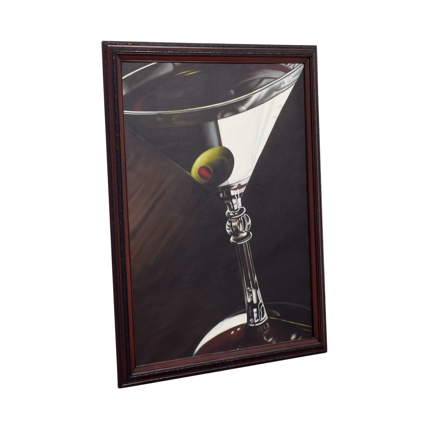 Lithograph of Martini Glass with Olive Red Cherry