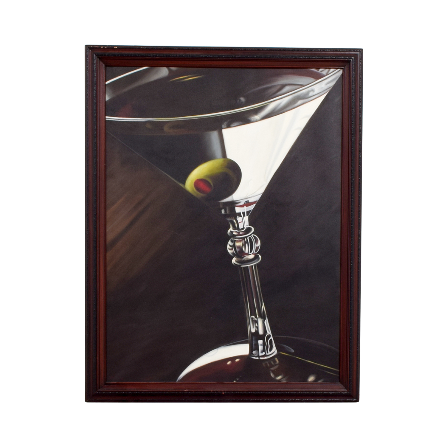 Lithograph of Martini Glass with Olive dimensions