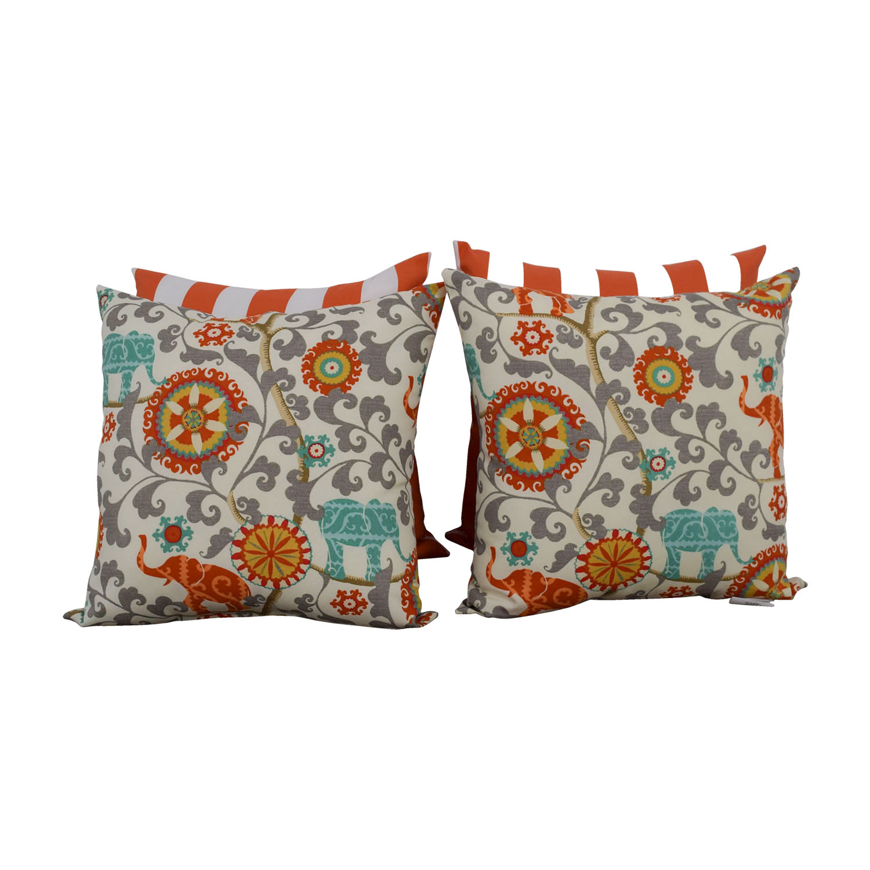 Resort Spa Home Décor Orange and White Stripes & Bohemian Elephant Pillows / Decor