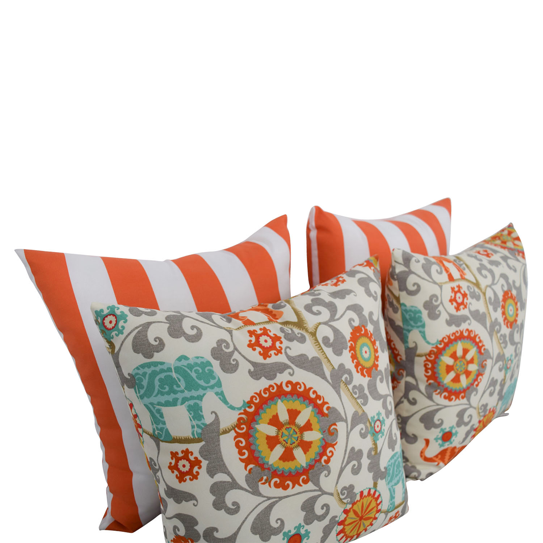 Resort Spa Home Décor Resort Spa Home Décor Orange and White Stripes & Bohemian Elephant Pillows price