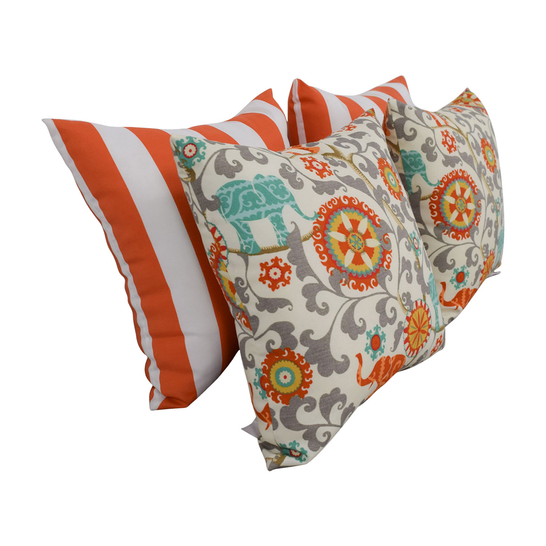 shop Resort Spa Home Décor Orange and White Stripes & Bohemian Elephant Pillows Resort Spa Home Décor Decorative Accents