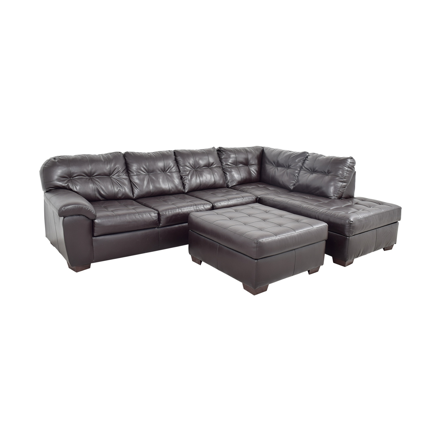 47% OFF - Simmons Simmons Brown Leather Sectional with Ottoman / Sofas
