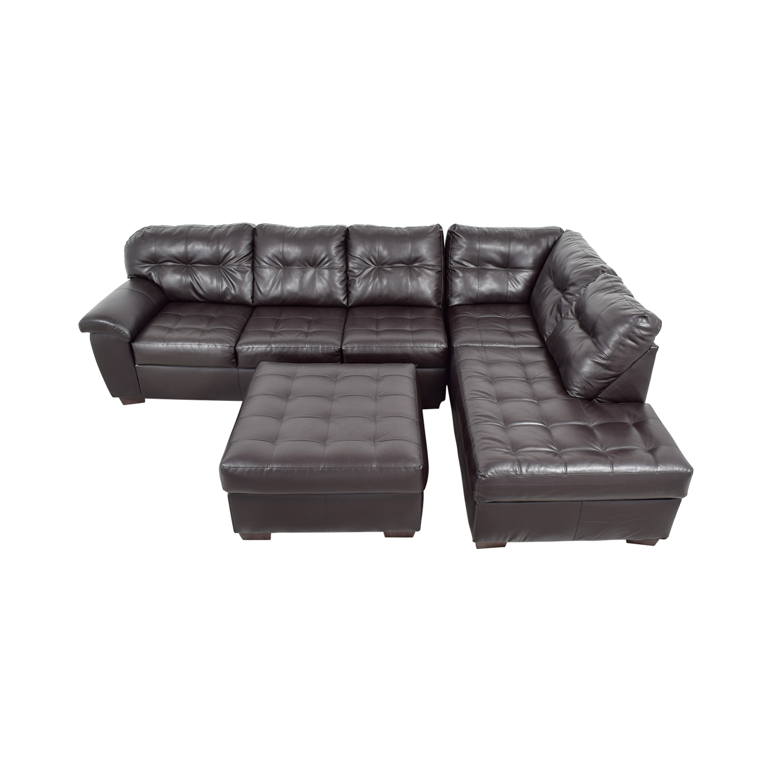 Simmons Brown Leather Sectional with Ottoman sale