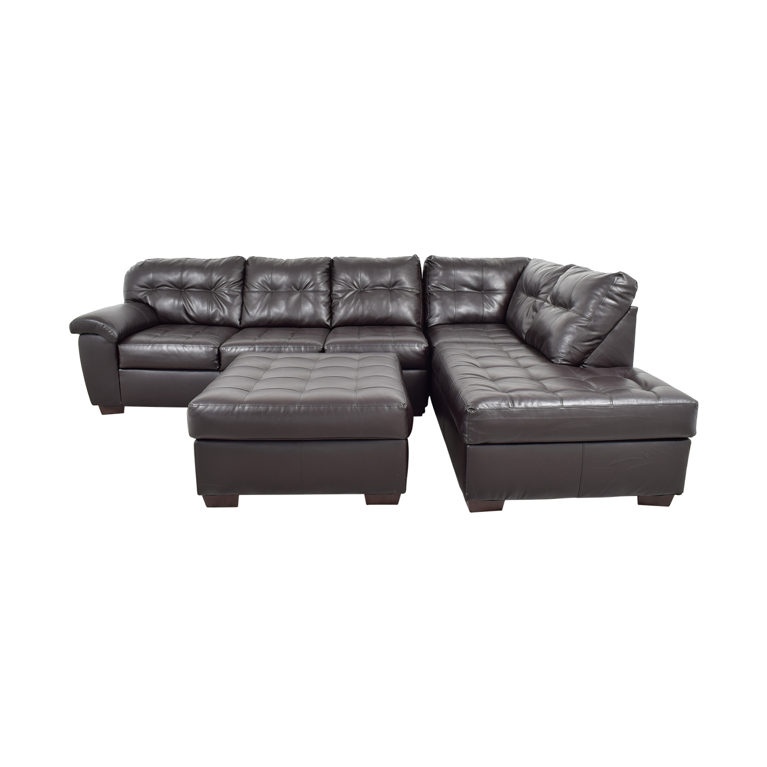 shop Simmons Brown Leather Sectional with Ottoman Simmons Sofas