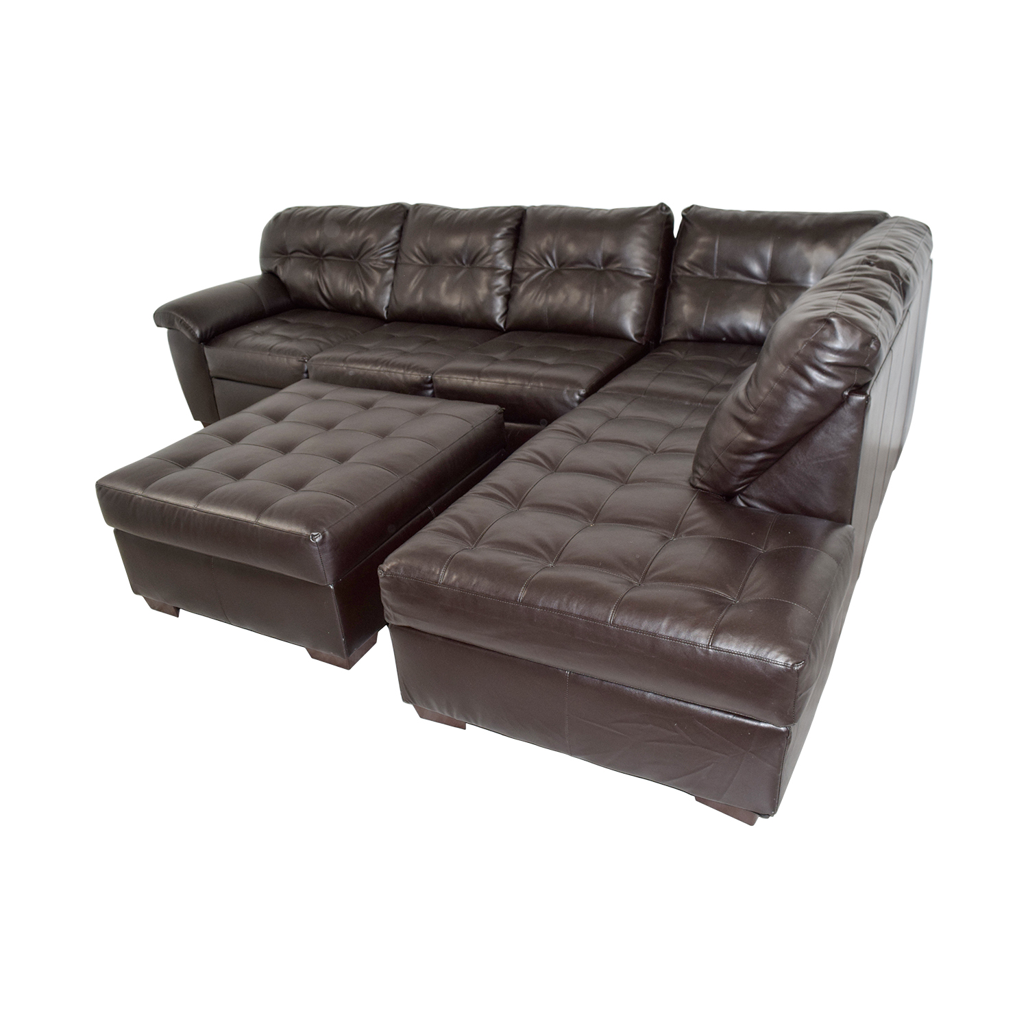 shop Simmons Simmons Brown Leather Sectional with Ottoman online