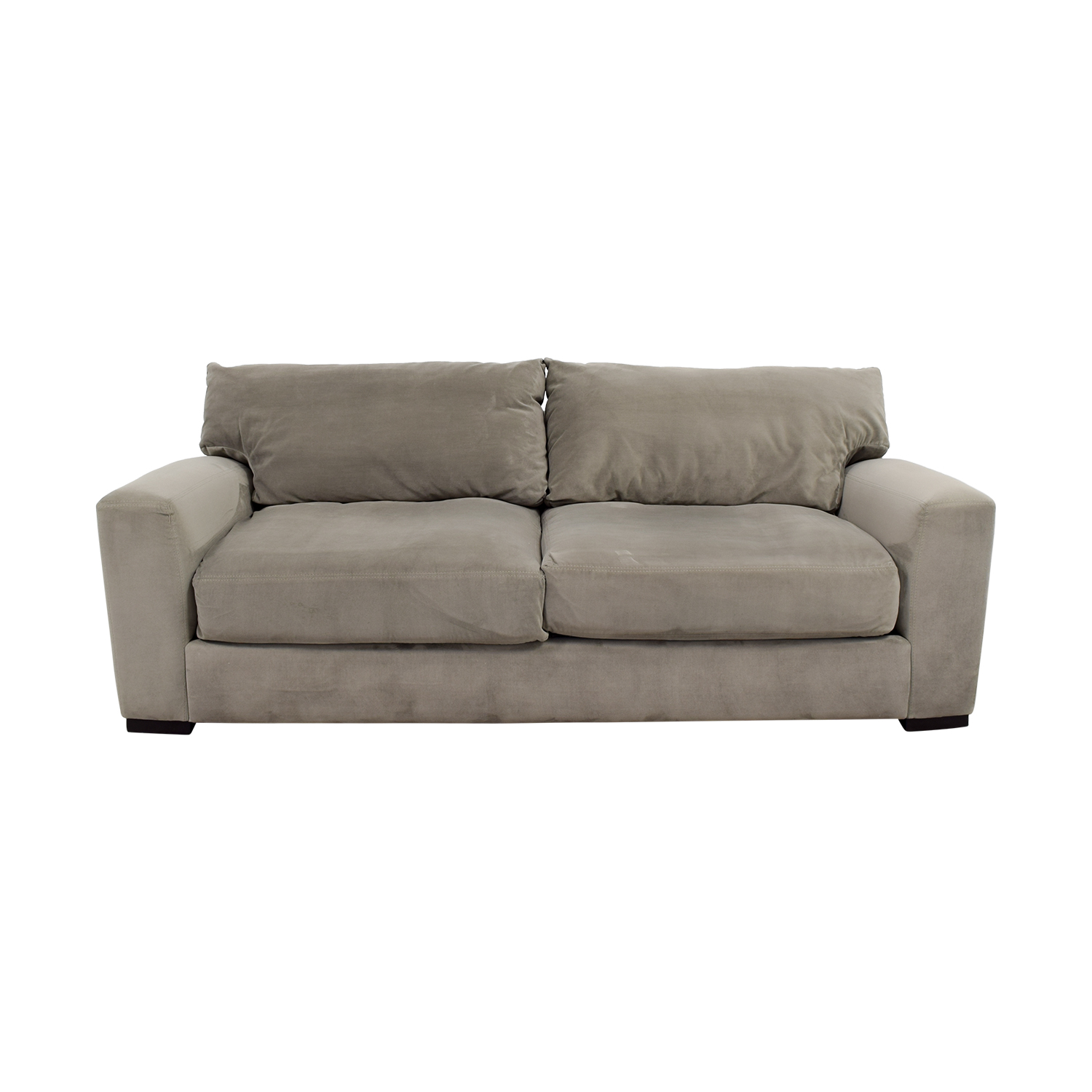Raymour and Flanigan Grey Carlin Microfiber Sofa sale