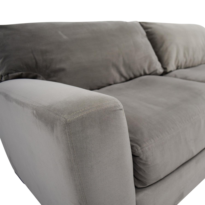 shop Raymour and Flanigan Grey Carlin Microfiber Sofa Raymour and Flanigan Classic Sofas