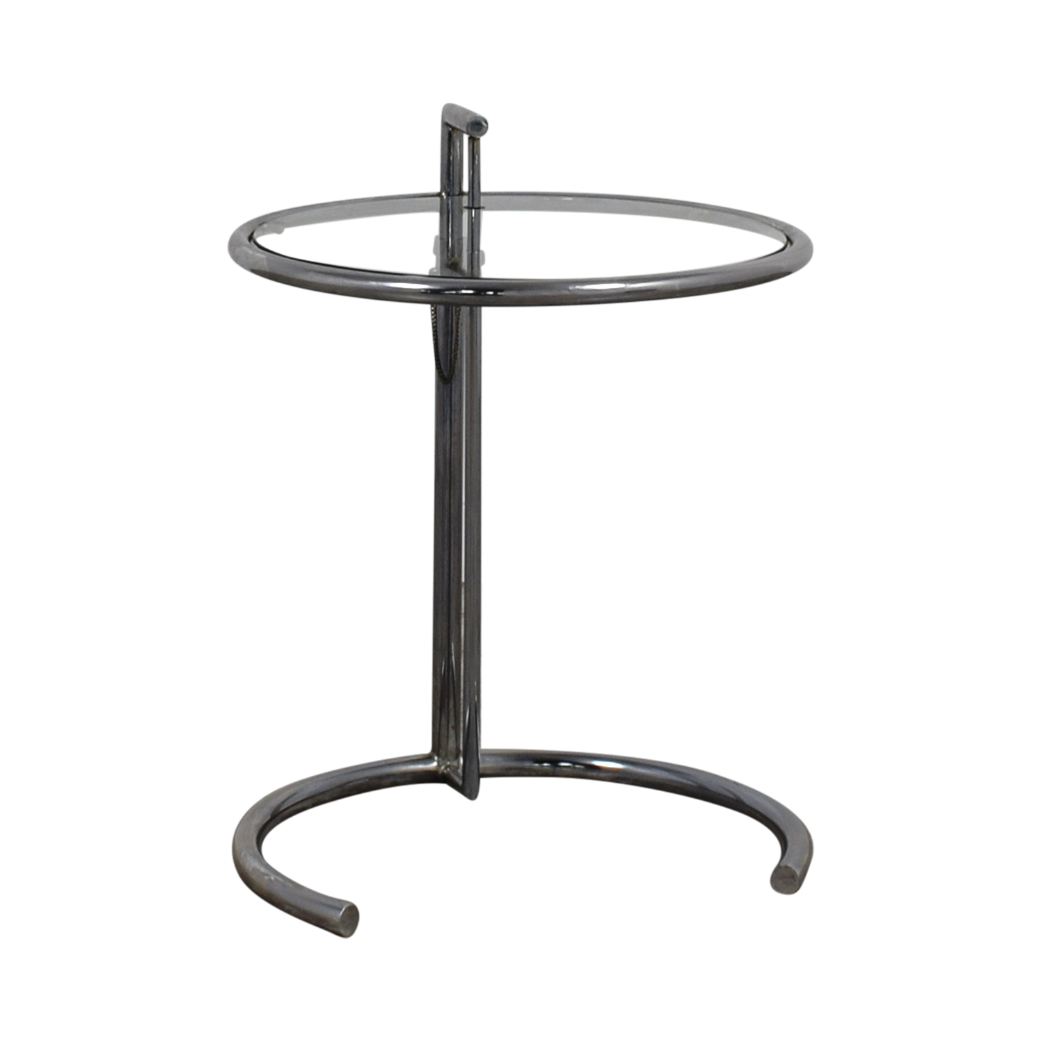 Eileen Gray Eileen Gray Round Glass and Metal Side Table Chrome