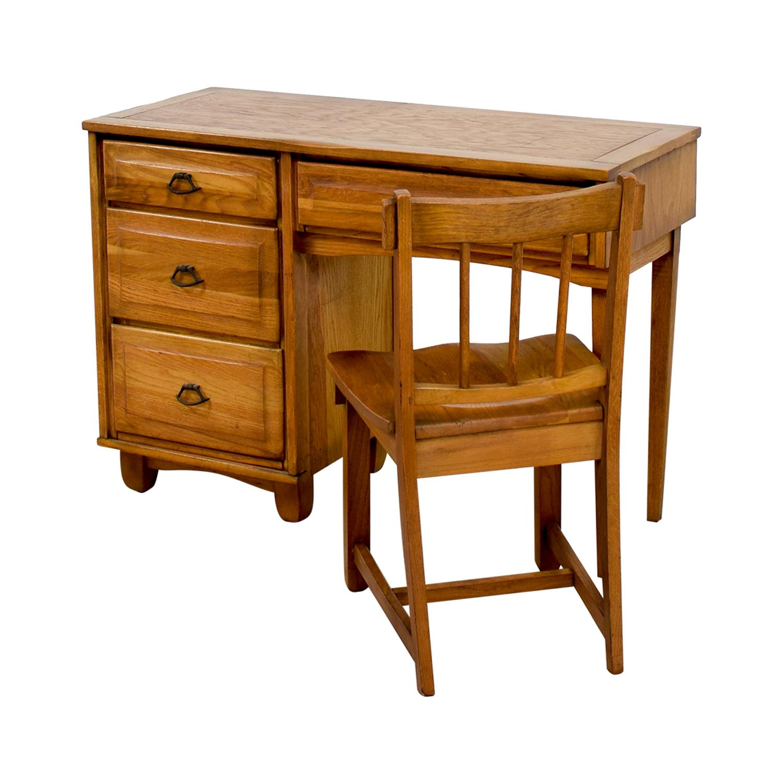 Vintage Oak Desk with Chair