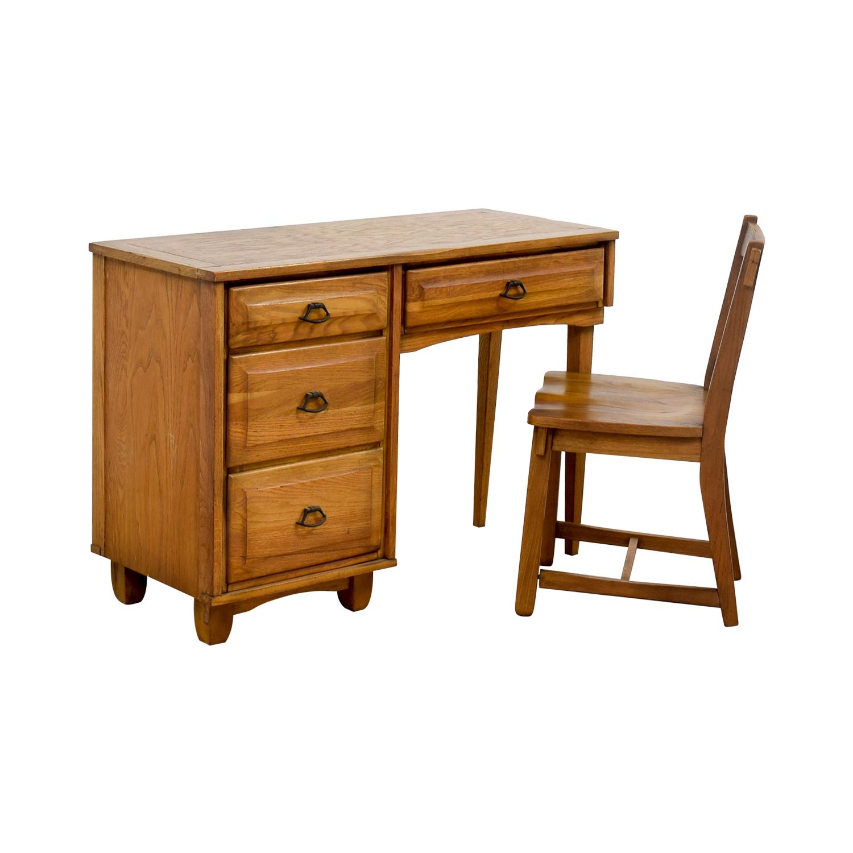 Vintage Oak Desk with Chair dimensions