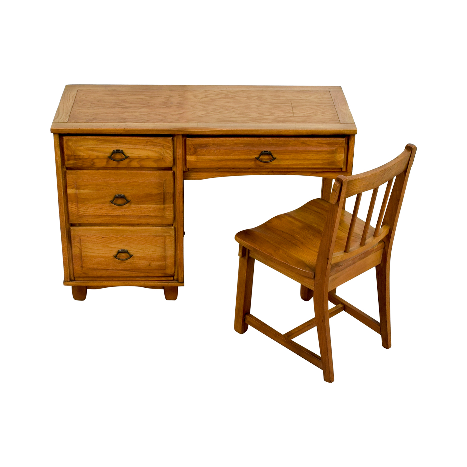 Awesome 86 Off Vintage Oak Desk With Chair Tables Gmtry Best Dining Table And Chair Ideas Images Gmtryco