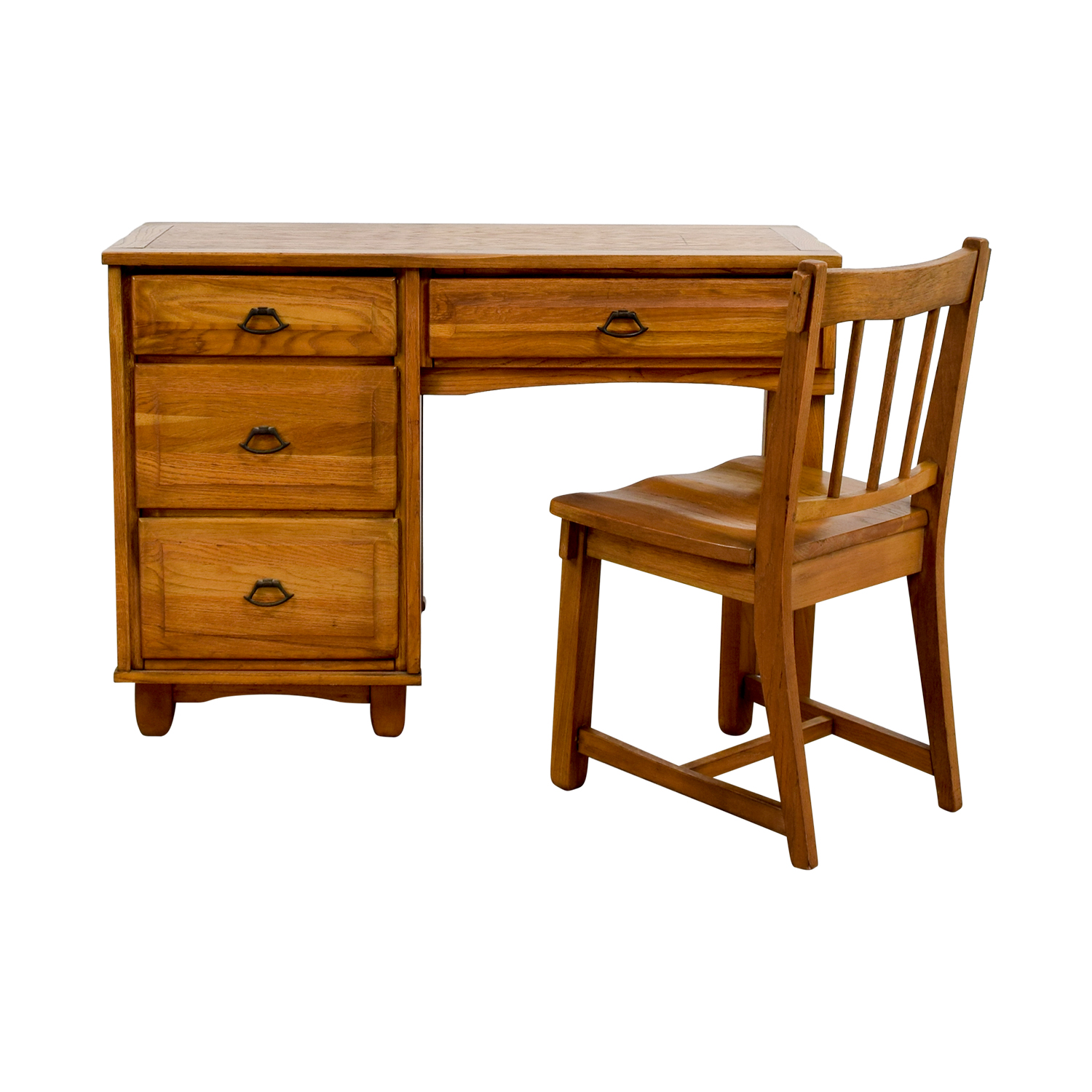 Vintage Oak Desk With Chair Home Office Desks ...