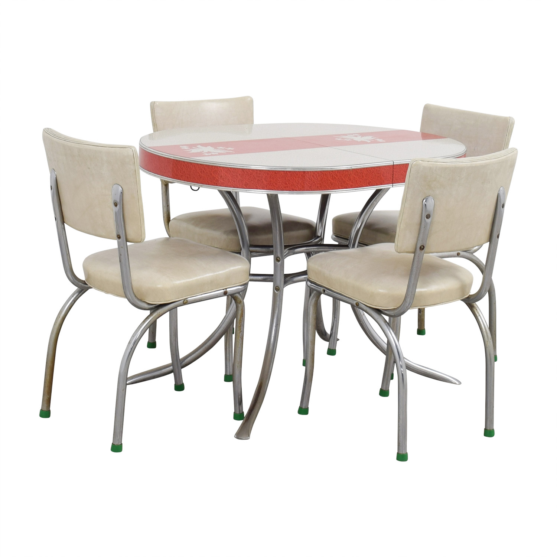 90 off vintage extendable formica top aluminum kitchen - Vintage formica kitchen table and chairs ...