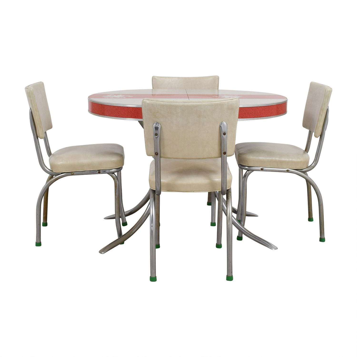 Medium image of vintage extendable formica top aluminum kitchen table and chairs on sale