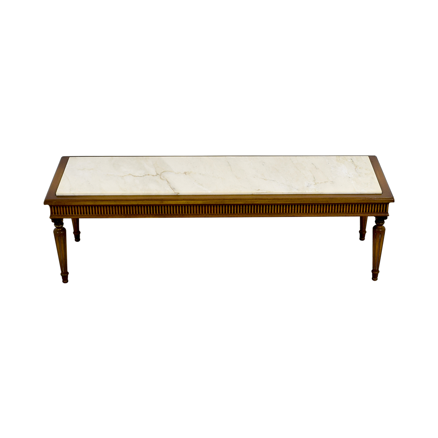 French Provincial Oval Coffee Table: Vintage Marble Topped French Provincial Coffee