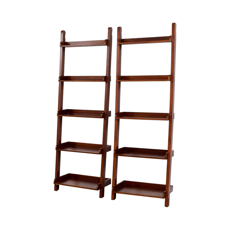 Espresso Wood Leaning Bookshelves / Storage