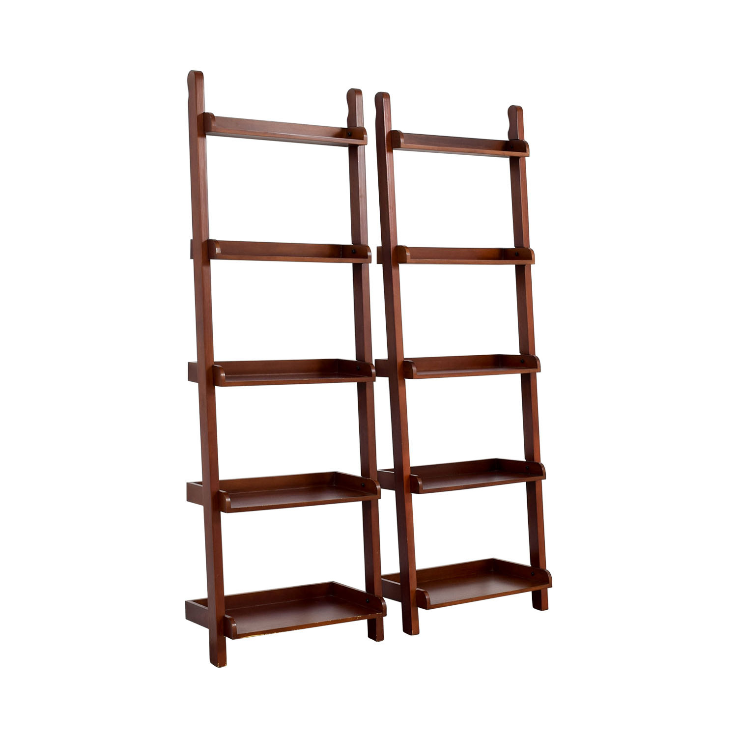 Espresso Wood Leaning Bookshelves second hand