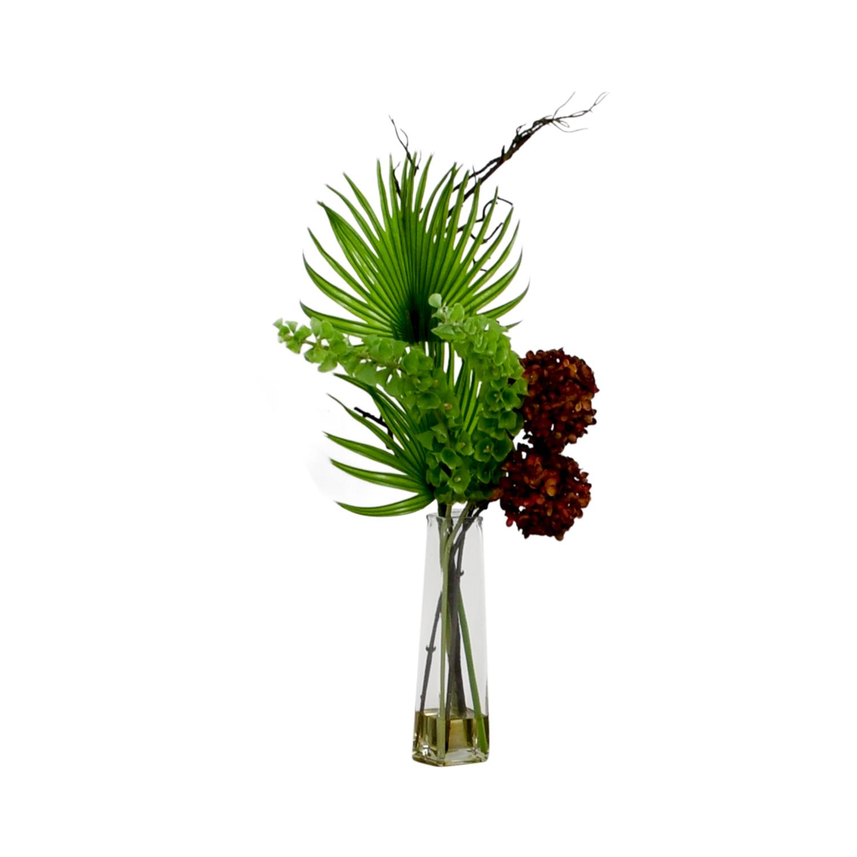 buy Uniques Shop Hydrangea, Bells of Ireland & Palm Frond in Vase Uniques Shop