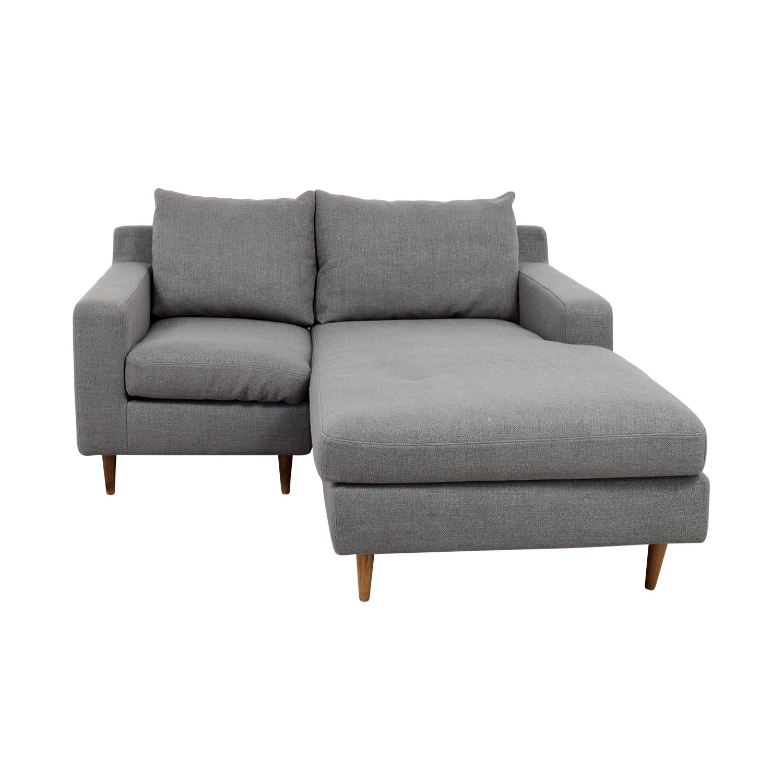 80% OFF - Interior Define Interior Define Custom Grey Loveseat with Chaise  / Sofas