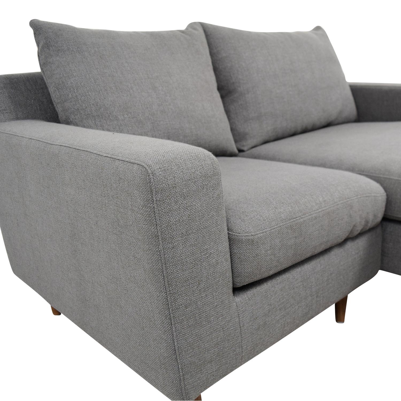 Interior Define Interior Define Custom Grey Loveseat with Chaise second hand