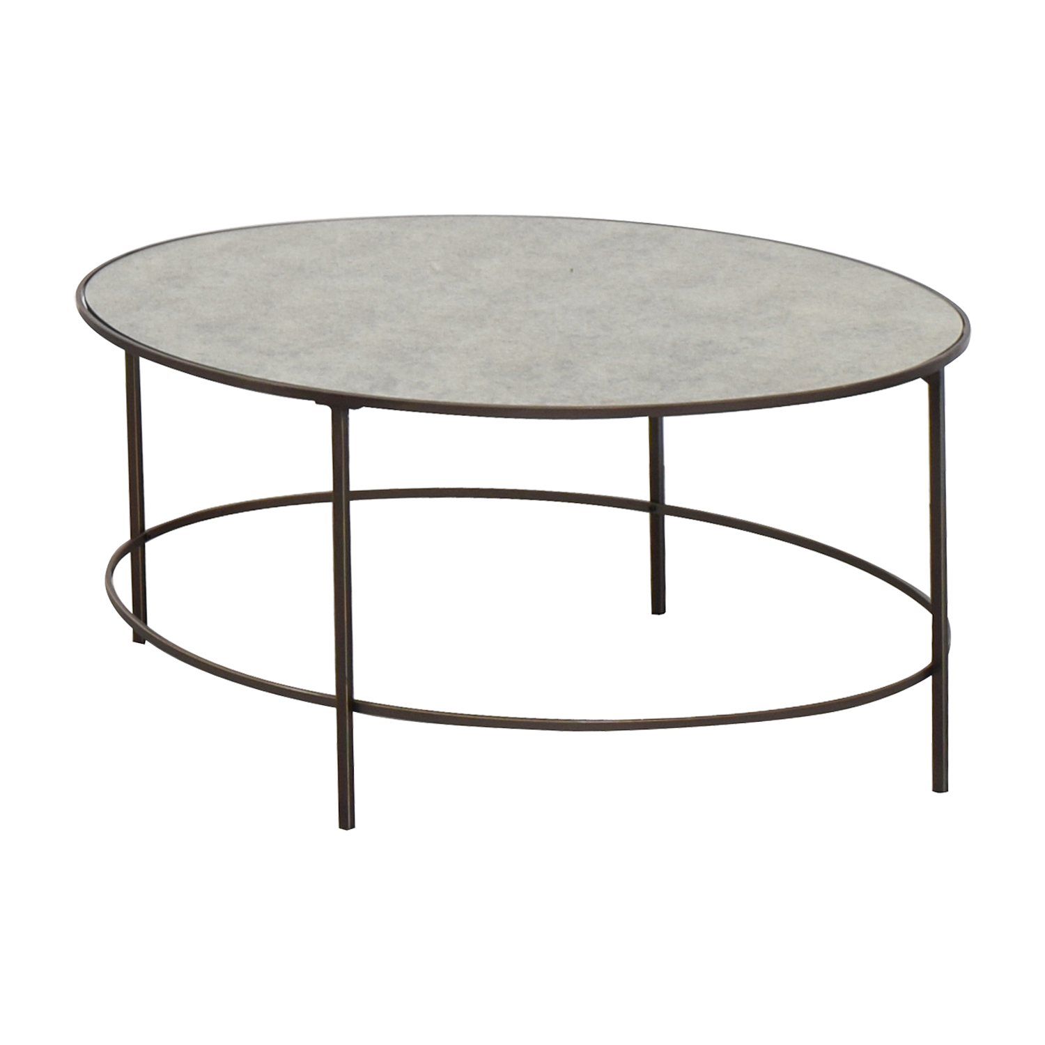 West Elm Oval Metal and Mirror Coffee Table / Tables
