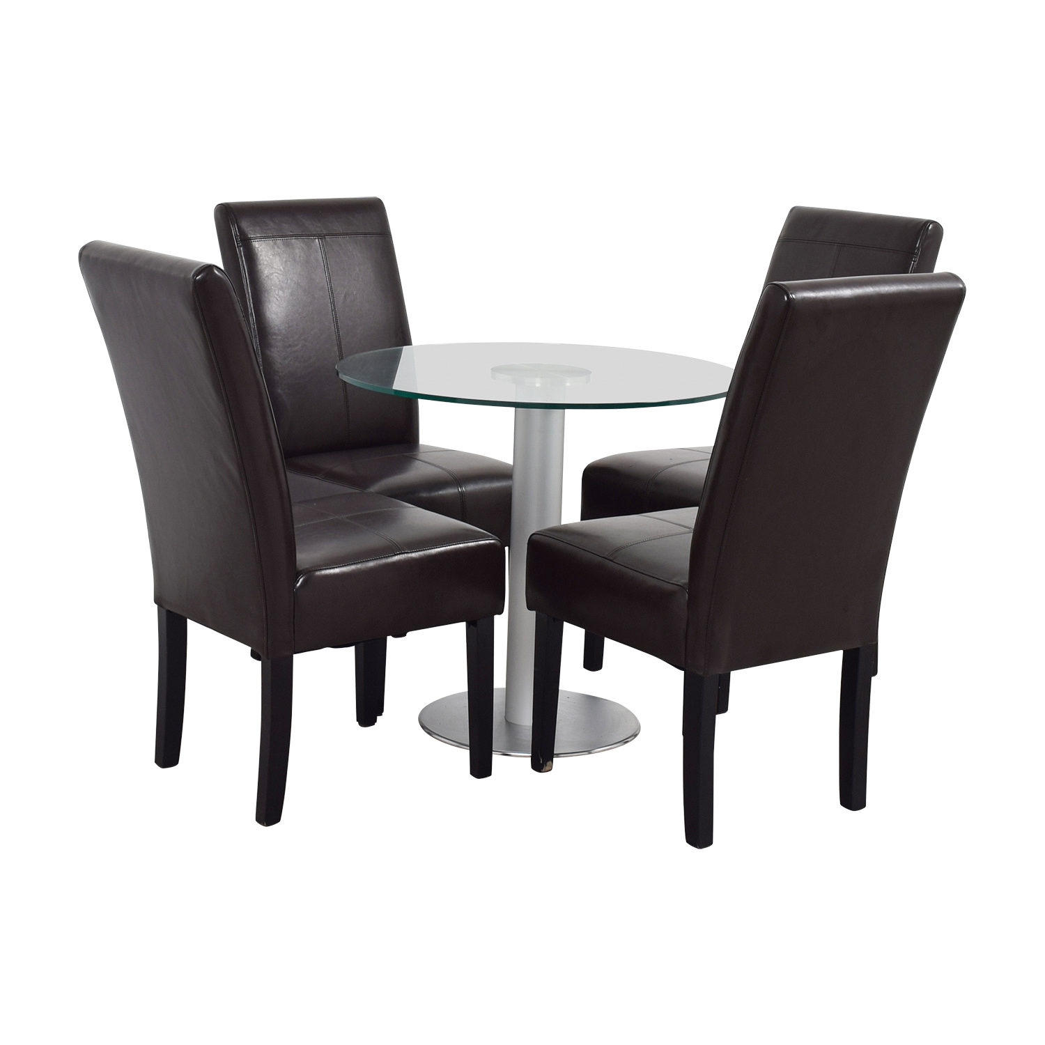 Round Glass and Metal Dining Set on sale