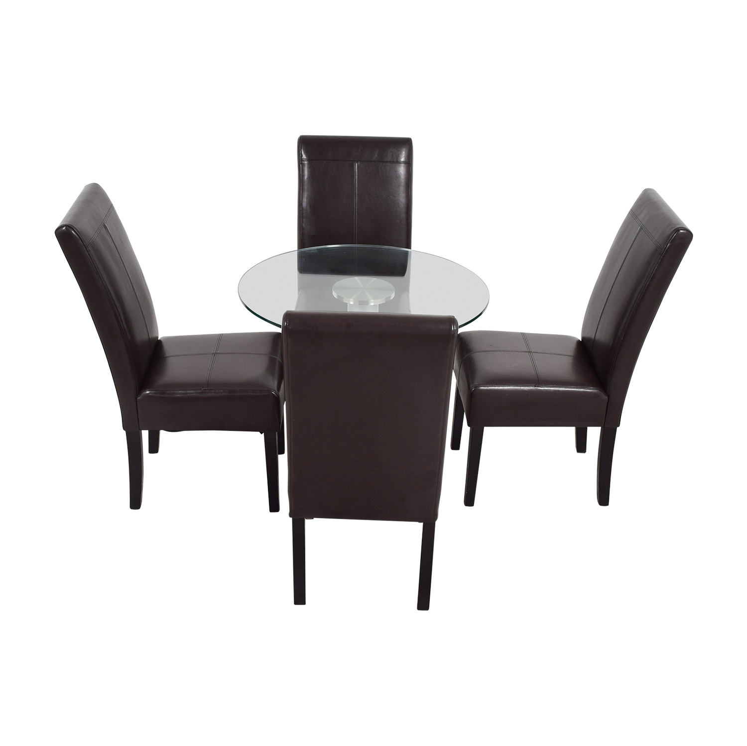 Round Glass and Metal Dining Set used