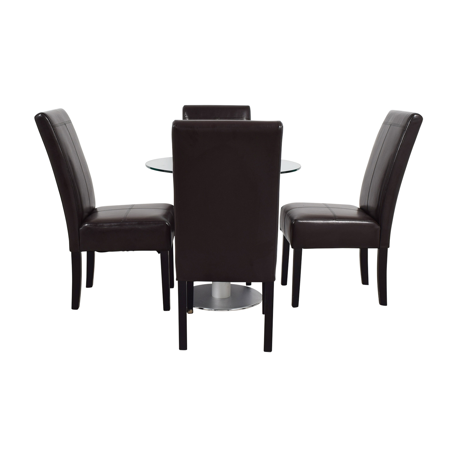 buy Round Glass and Metal Dining Set