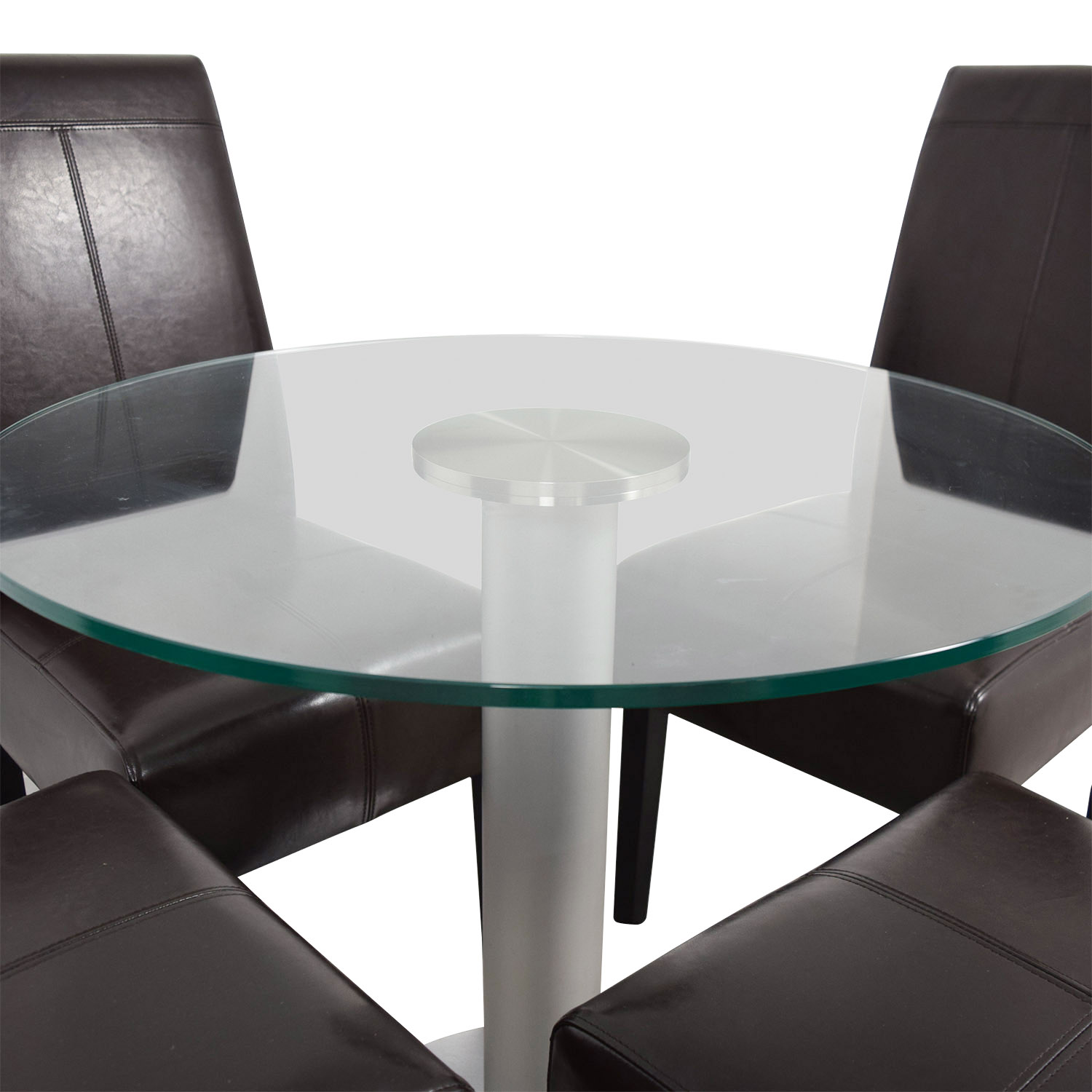 Round Glass and Metal Dining Set / Tables