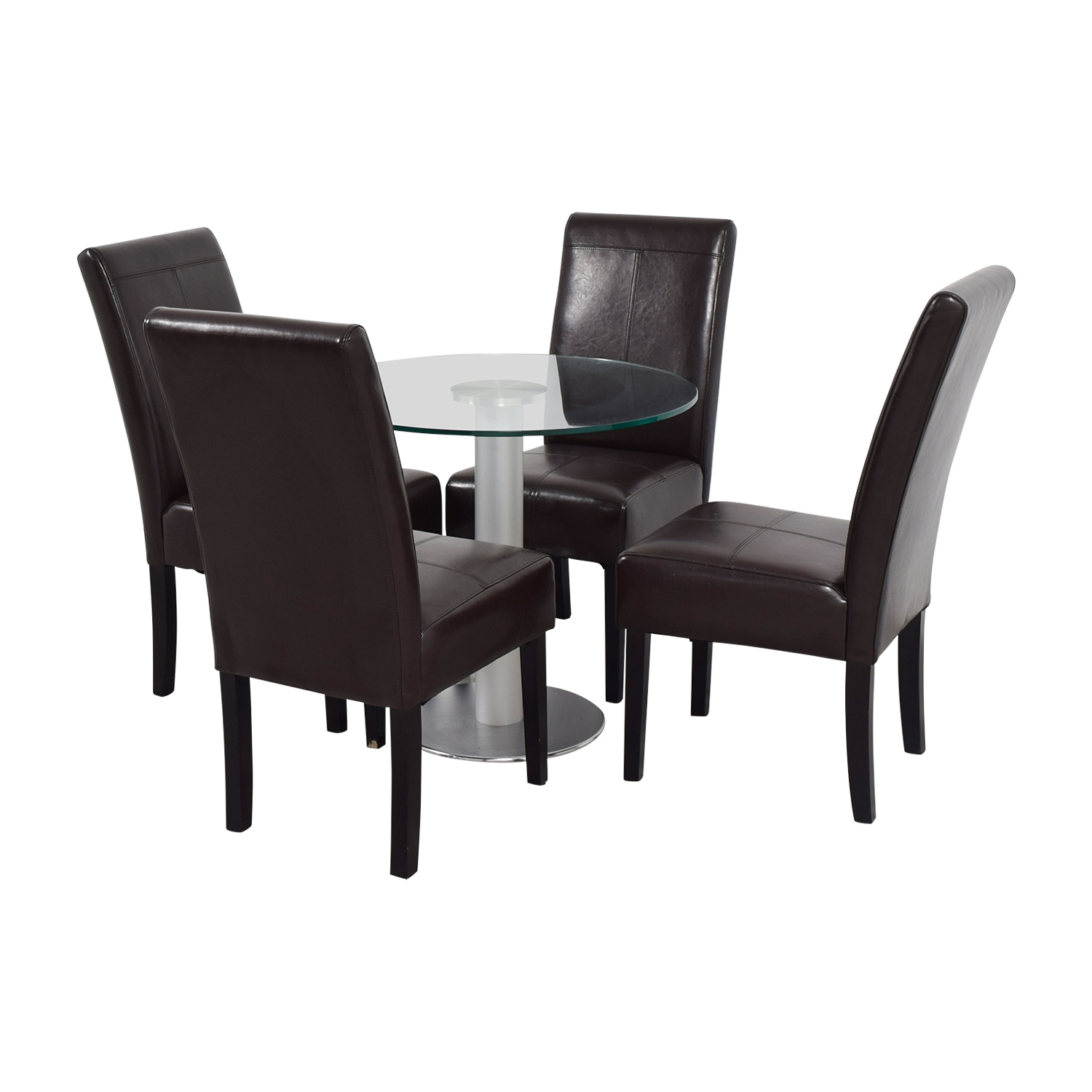 buy Round Glass and Metal Dining Set online