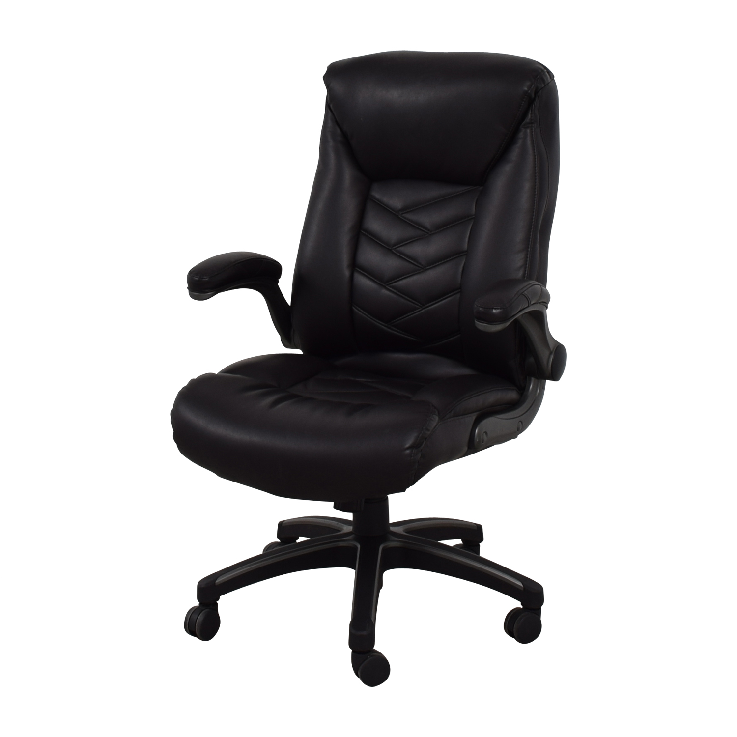 90 off black leather office chair chairs for Home office chairs leather