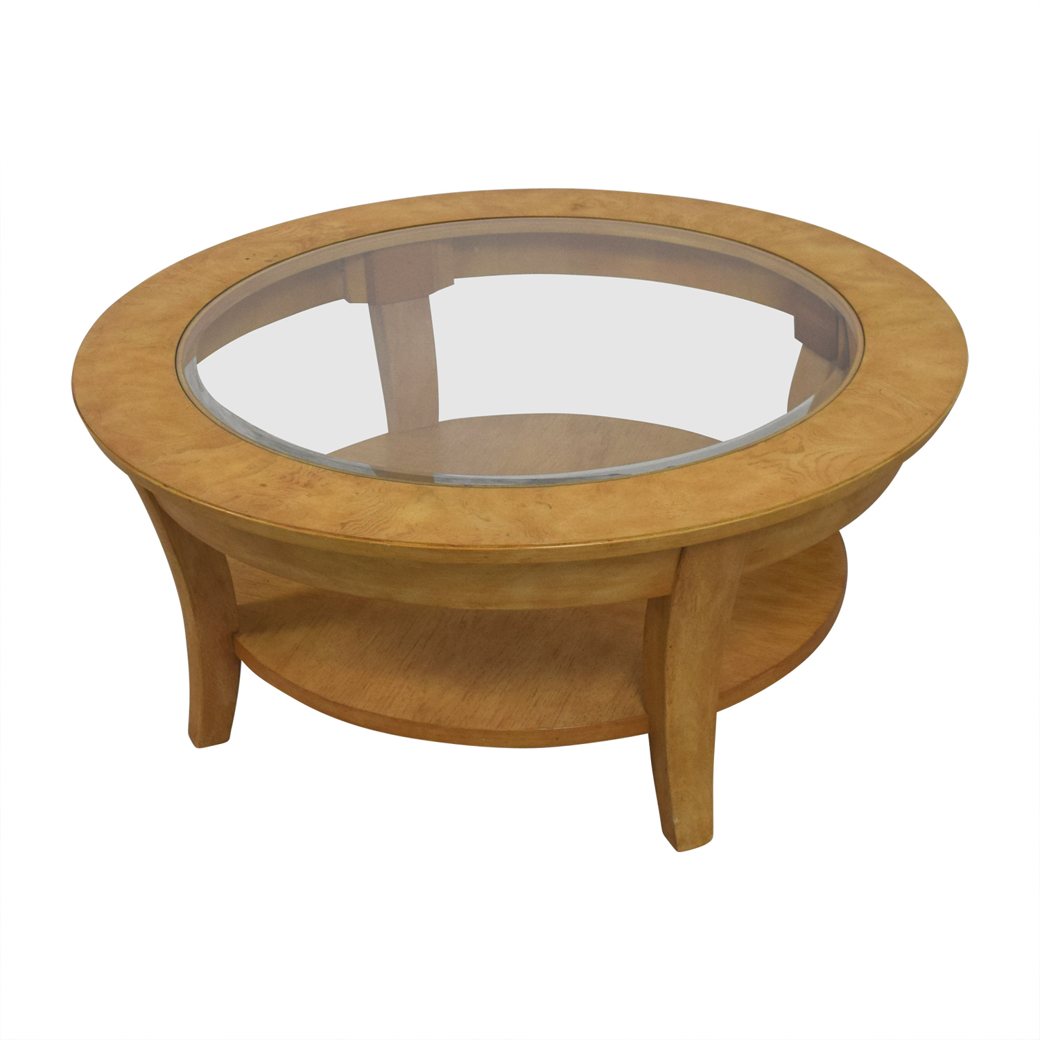 84 Off Round Glass And Wood Cocktail Table Tables