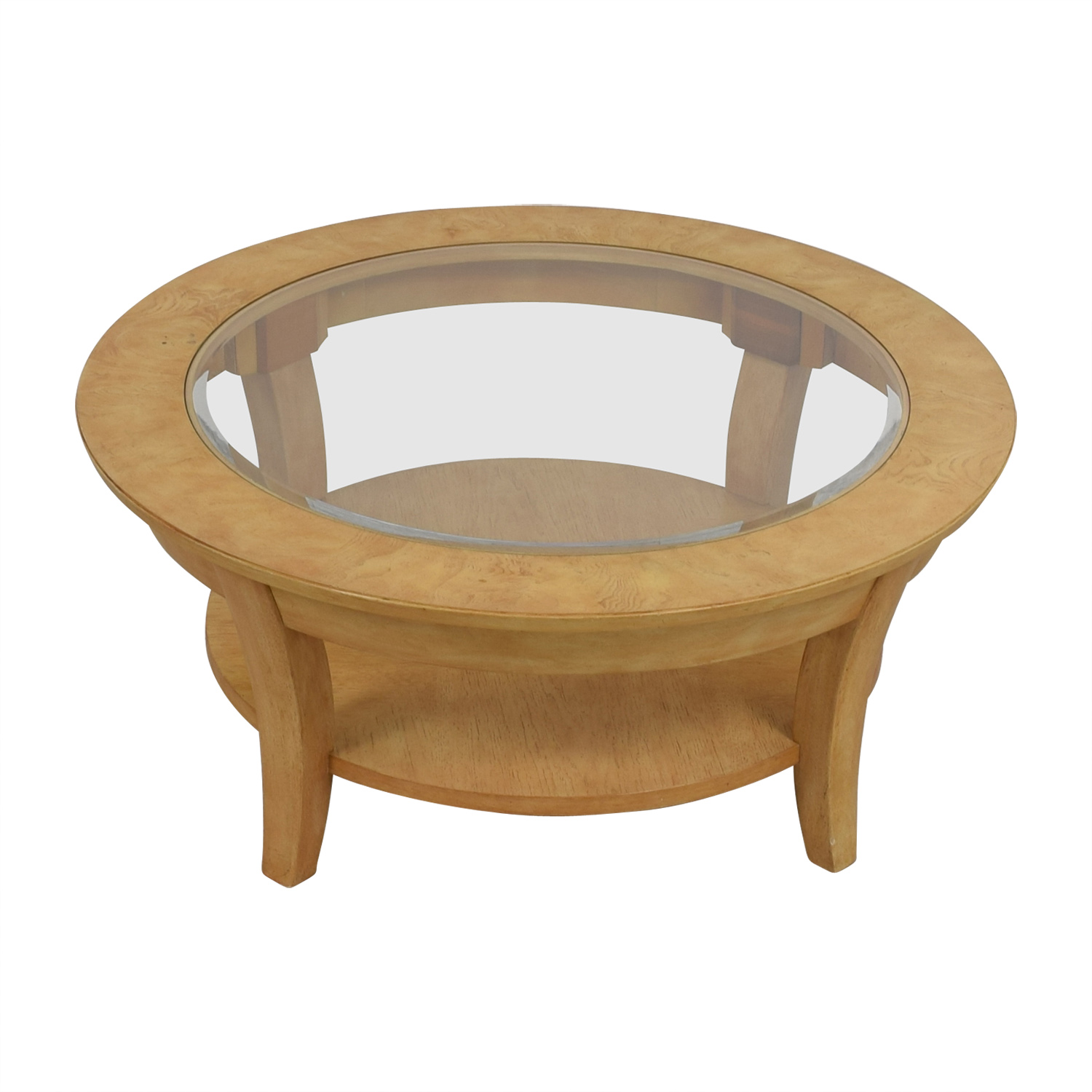 Round Glass and Wood Cocktail Table used