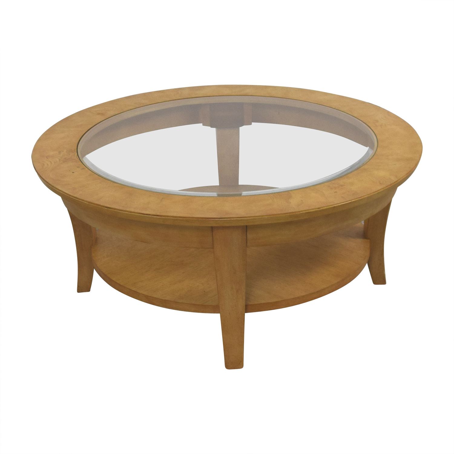 Round Glass and Wood Cocktail Table / Coffee Tables