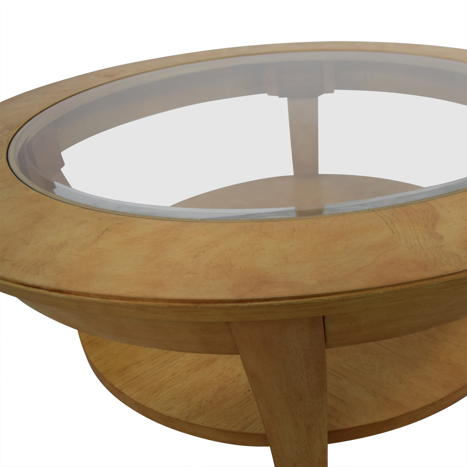 Round Glass and Wood Cocktail Table dimensions