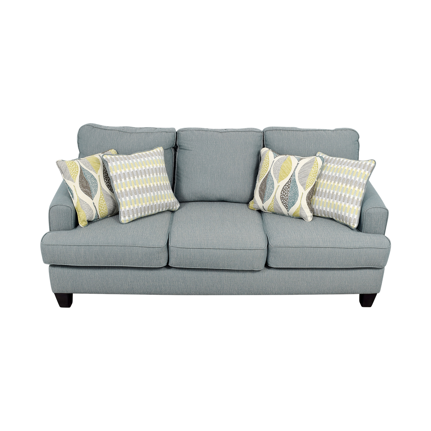 Raymour & Flanigan Blue Fabric Three-Cushion Couch sale